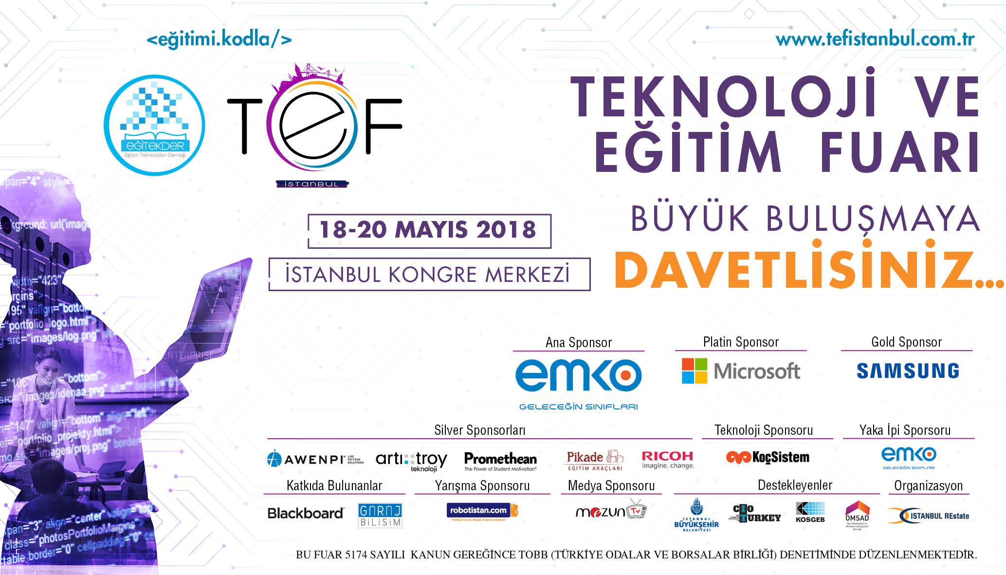 Emkotech TEF İstanbul (Teknoloji ve Eğitim Fuarı) Ana Sponsoru!