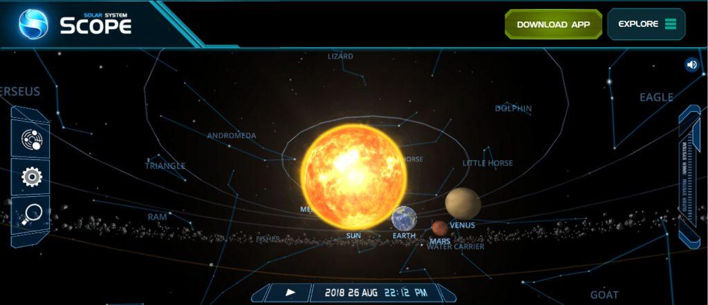 Akıllı tahta uygulaması - Güneş sistemi simülasyonu