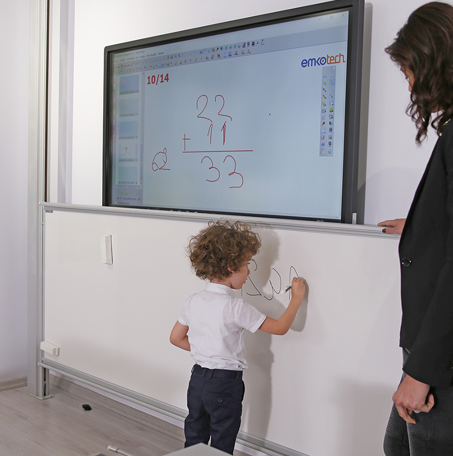 Classroom with Emkotech Guillotine Board System